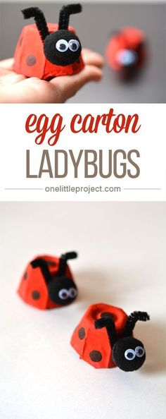 These egg carton ladybugs are such a fun and easy craft for kids! And they'… These egg carton ladybugs are such a fun and easy craft for kids! Easy Crafts For Kids, Craft Activities For Kids, Easy Diy Crafts, Summer Crafts, Cute Crafts, Toddler Crafts, Projects For Kids, Diy For Kids, Craft Projects