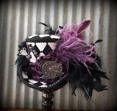 Mini Top Hat Alice in Wonderland Mini Top Hat Mad Tea Party Hat Black check Purple Hat STeampunk Tea Party Mad Hatter Hat Clock hat #steampunkhat