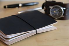 Ledereinband / Travel Journal für 2 Moleskine Cahier / Field Notes schwarz | eBay