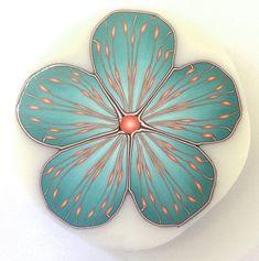 Polymer Clay Cane - Teal Blossom by K. Hernandez - Polymer Clay Art, via Flickr