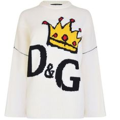Dolce And Gabbana Crown Logo Oversized Knit (5.700 RON) ❤ liked on Polyvore featuring tops, sweaters, white, white long sleeve sweater, knit sweater, dolce gabbana sweaters, long sleeve tops and white crew neck sweater