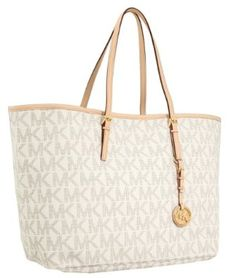 Michael Kors Jet Set Medium Travel Tote Logo PVC Vanilla
