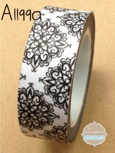 Washi Tape - Black Design - x 10 metres - High Quality Masking Tape Tapas, Cinta Washi, Anna Craft, Craft Cupboard, Paper Gift Box, White Damask, Masking Tape, Washi Tapes, Tape Crafts