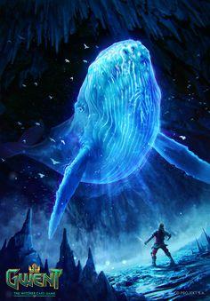 Spectral Whale - Gwent Card, Kate Redesiuk on ArtStation at https://www.artstation.com/artwork/JkEBm