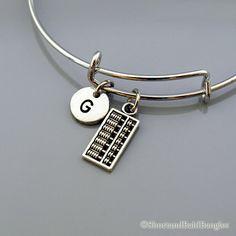 Abacus charm Bangle, Abacus bracelet, Expandable bangle, Personalized bracelet, Charm bangle, Monogram, Initial bracelet