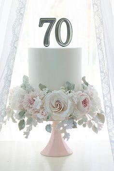 70th Birthday Cake For Women, Elegant Birthday Cakes, Beautiful Birthday Cakes, Beautiful Cakes, 60 Birthday Cakes, Birthday Cake For Women Elegant, Fondant Cakes, Cupcake Cakes, Cupcakes