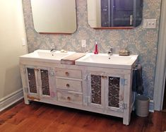 Double bathroom vanity made from old reclaimed doors with antique ceiling tile inserts