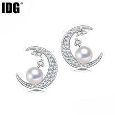 Fashion moon design white natural pearl earrings for women, charm 925 sterling silver,fine jewelry earring bridal birthday gift #Affiliate