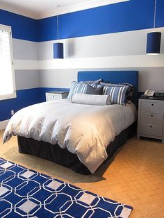 Zimmergestaltung Ideen im Jugendzimmer furnishing ideas in youth room blue white stripes Boys Bedroom Paint, Blue Bedroom, Girls Bedroom, Boys Room Paint Ideas, Boy Bedrooms, Bedroom Decor For Boys, Teen Bedroom Decorations, Boys Hunting Bedroom, Boys Bedroom Colors