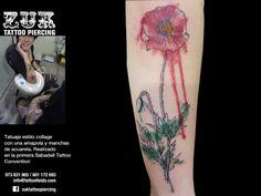 Tatuaje estilo collage  con una amapola y manchas  de acuarela. Realizado en la primera Sabadell Tattoo Convention.