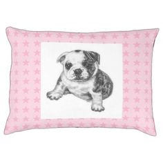 #Cute Bulldog Puppy Dog with Pink Stars Pet Bed - #dogbeds #dogbed #puppy #dog #dogs #pet #pets #cute #doggie