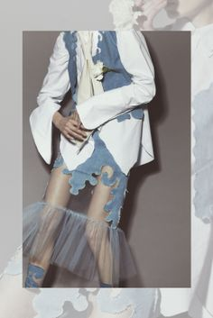 ALINABRANE | NOT JUST A LABEL blue sheet white tailored contrast aesthetic fashion
