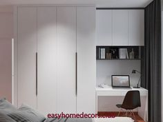New Bedroom Desk Decor Closet Ideas Bedroom Built In Wardrobe, Bedroom Closet Design, Home Room Design, Home Office Design, Home Office Decor, Home Interior Design, Home Decor, Bedroom Cabinets, Bedroom Furniture