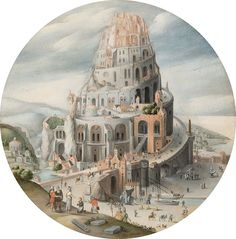 Abel Grimmer – The Tower of Babel 1605 Pieter Bruegel The Elder, Tower Of Babel, Abstract City, Art Deco Movement, Historical Monuments, Famous Art, Matte Painting, Environment Concept Art, Science Fiction Art