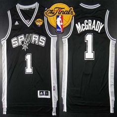Spurs #1 Tracy Mcgrady Black Road Finals Patch Embroidered NBA Jersey! Only $20.50USD