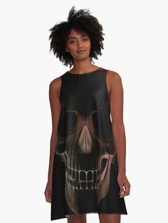 'Death's head' A-Line Dress by ex masck Dark Art, Line, How To Make, Stuff To Buy, Dresses, Design, Vestidos, Fishing Line