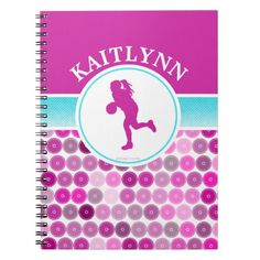 Retro Purple Circles Basketball by Golly Girls Spiral Notebook
