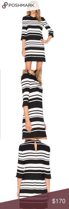 Kate Spade Cape Stripe Dizzy Dress Brand new $368 Kate Spade cape stripe dizzy dress // size 2 // black and white stripes // mini ruffles around neck and sleeve openings // keyhole Button closure on back of neck // back zipper closure kate spade Dresses