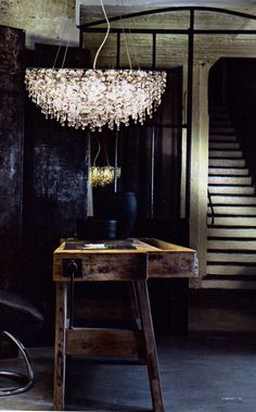 "Kick a"""" chandelier and wood eclectic interior Light Fittings, Light Fixtures, Interior Lighting, Lighting Design, Style Loft, Luminaire Design, Dark Interiors, Art Furniture, Pallet Furniture"