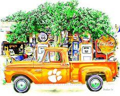 Clemson Tigers Vintage Fan Art by Dwayne Graham Clemson Football, Clemson Tigers, Auburn Tigers, Route 66, Graham, Vintage Fans, Bar Art, Truck Art, Football Wallpaper