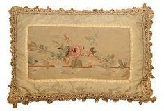 Antique Aubusson Pillow w/ Rose on OneKingsLane.com  1990;S SUPRISE..LOOKS SO OLD.LOVE ANYWAY