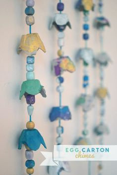 kids make chimes using recycled egg cartons