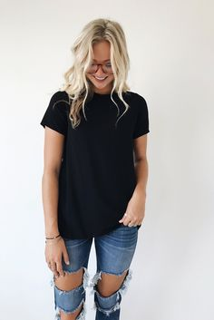 Textured Black High Neck Top | ROOLEE