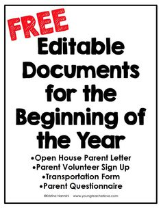 FREE Editable Documents for the Beginning of the Year - Young Teacher Love by Kristine Nannini Need tips for how to plan your Meet the Teacher Open House night? This post provides a meet the teacher editable template, parent letter, and other ideas. Letter To Teacher, Letter To Parents, Meet The Teacher, Parents As Teachers, New Teachers, Parent Volunteer Letter, Parent Letters, Teachers Toolbox, Back To School Night