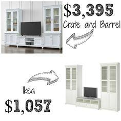 Decor Look Alikes | Crate & Barrel Harrison Entertainment Center $3395 vs $1057 @IKEAUSA