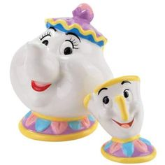 "Mrs. Potts and Chip are ready to accompany your holiday meals! MRS. POTTS AND CHIP MAGNETIZED SALT AND PEPPER SHAKER SET (from Walt Disney's ""Beauty and the Beast"")"