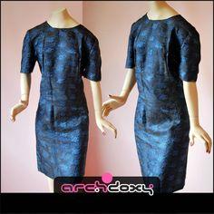 Vintage 1950s Original Blue Jacquard Wiggle Adele Pencil Cocktail Dress #vintage  http://www.ebay.co.uk/itm/Vintage-1950s-Original-Blue-Jacquard-Wiggle-Adele-Pencil-Cocktail-Dress-UK16-/371574614399?ssPageName=STRK:MESE:IT