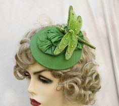 Cocktail Fascinator Headpiece Dragonfly Tilt Hat  Apple Green by GailsHats on Etsy https://www.etsy.com/listing/87151141/cocktail-fascinator-headpiece-dragonfly