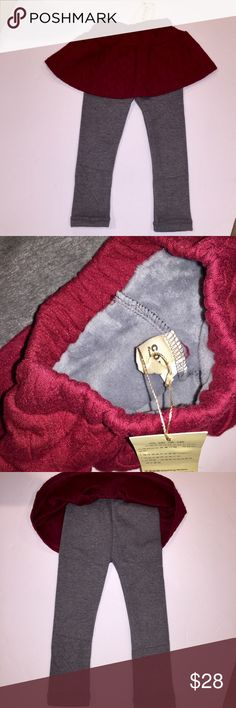 Warm fleece lined skirt w/ attached leggings CUTE! Adorable fleece lined burgundy skirt with gray fleece lined leggings attached. Size 110 = size 3T-4T US. Supersoft, as well as cute. This will keep your little princess warm all winter. Bottoms Skirts