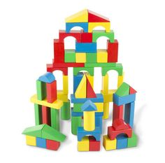 Building Blocks Set Melissa & Doug Wooden a hundred solid wood blocks excellent for hours (and towers!) of fun. Blocks are available in four colours. Wooden Building Blocks, Wooden Blocks, Building Toys, Building Ideas, Kids Building, Building Products, Aberdeen, Toddler Toys, Kids Toys
