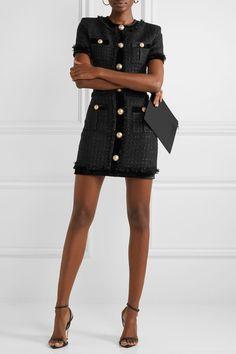 Balmain Velvet-trimmed frayed metallic tweed mini dress - Chanel Dresses - Trending Chanel Dress for sales - Balmain Tweed Outfit, Tweed Dress, Preppy Mode, Preppy Style, Chanel Dress, Balmain Dress, Chanel Outfit, Chanel Fashion, Metallica