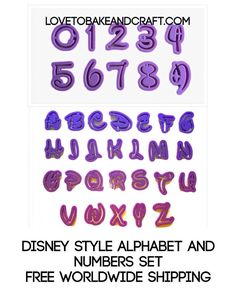Disney alphabet and number cutters Disney Cake Toppers, Disney Cupcakes, Disney Cookies, Cupcake Mold, Baby Cupcake, Fondant Baby, Disney Alphabet, Disney Letters, Disney Stencils