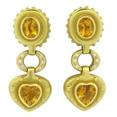 18k Gold Diamond Citrine Heart Drop Earrings Featured in our upcoming auction on November 2, 2015 11:00AM EST!