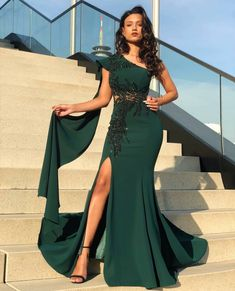 Green Long Mermaid Prom Dress Dubai Appliques Beaded Cape High Slit Formal Evening Dresses Long Party Gowns · Lalamiya · Online Store Powered by Storenvy Long Party Gowns, Party Dresses Uk, Designer Party Dresses, Cheap Formal Dresses, Formal Evening Dresses, Evening Gowns, Bridesmaid Dresses, Green Party Dress, Ball Gowns Prom