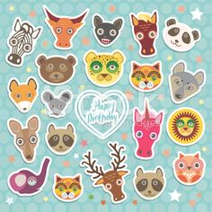 Happy birthday. Funny Animals card template light blue Polka dot royalty-free vector art illustration