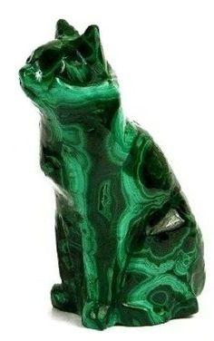 Souvenirs from Russia. Cat figurine made of Ural malachite.