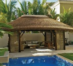 gazebo with lath sides for decor! Perfect for hot days & summer nights! Patio Pergola, Backyard Gazebo, Pergola Kits, Patio Roof, Thatched House, Thatched Roof, Outdoor Living Rooms, Outdoor Spaces, Outdoor Decor
