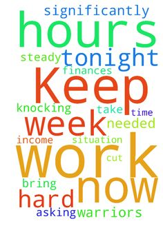 Keep asking, Keep knocking. Prayers needed -  Prayer Warriors please take the time tonight to pray for me and my situation. Please pray hard. My work hours are cut significantly now, I only work 6 hours a week now. No more steady income and finances. Pray God will bring me work  Posted at: https://prayerrequest.com/t/oOE #pray #prayer #request #prayerrequest
