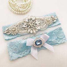 Baby Blue Weddings, Blue Garter, Something Blue Wedding, Wedding Garter Set, Blue Bridal, Blue Lace, Snug Fit, Light Blue, Jewels
