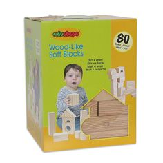 WOOD LIKE SOFT BLOCKS SET OF 80