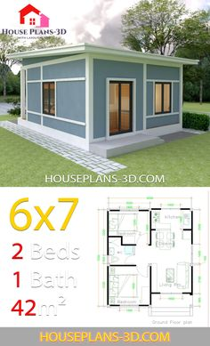 Simple House Plans with 2 bedrooms Shed Roof The House has:-Car Parking and garden-Living room,-Dining Bedrooms, 1 bathroom Simple House Plans, Simple House Design, Modern House Plans, Tiny House Design, Minimalist House Design, 2 Bedroom House Plans, Shop House Plans, Tiny House Plans, House Floor Plans