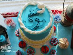 Cake at a Nautical Mickey Mouse Party #nautical #mickeymouse