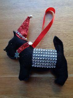 Handmade Black felt Christmas Scottie dog hanging decoration Scottish Terrier by CraftyBunnyDog on Etsy