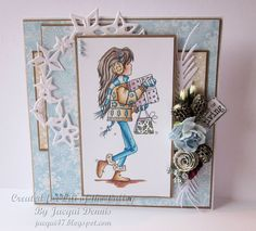 LOTV - Jasmine Christmas Present by Jacqui Dennis Christmas In July, Christmas Presents, Winter Christmas, Stamped Christmas Cards, Handmade Christmas, Valley Girls, Cat Whiskers, Craftwork Cards, Lily Of The Valley