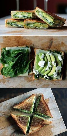 herb pesto, mozzarella, baby spinach, avocado grilled cheese cooked with olive oil.