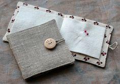 Small Linen Needle Book Pincushion button от namolio на Etsy